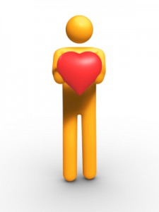 figure holding heart